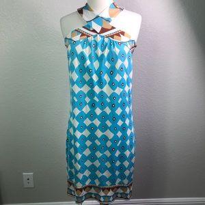 Diane Von Furstenberg Brown Aqua Geo Dress Altered